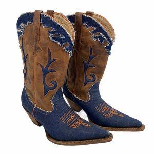 Premier Western Wear Leather Denim Orange Cowboy